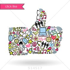 stock illustration of like sign made with social media icons