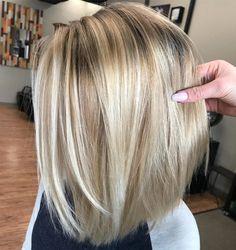 50 No-Fail Medium Length Hairstyles for Thin Hair - Hair Adviser Trendy Hairstyles, Straight Hairstyles, Medium Length Blonde Hairstyles, Blond Medium Length Hair, Medium Length Bobs, Beautiful Hairstyles, Dark Blonde Bobs, Thin Blonde Hair, Golden Blonde