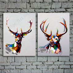 Deer painting combination - oil painting, large oil painting, abstract painting, portrait painting, hand painted on canvas by Ape Art Studio