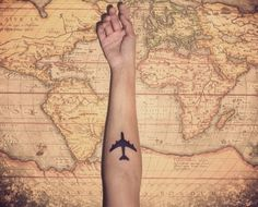 I've always wanted to do the outline of the world map or a paper plane. Love it. Also: http://blog.art21.org/wp-content/uploads/2012/12/500px-Pioneer_plaque.jpg which was put on a travel satellite sent to space 46 Perfectly Lovely Travel Tattoos >>> Love these!