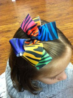 Zebra Multi Bright Hair Bow. Girls Toddler by PurpleElephant84, $4.95 The Purple Elephant Bowtique on Etsy
