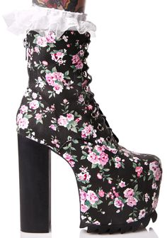 Sugarbaby Secret Garden Boots let's get lost in the sweet scent of roses together, bb~ These beautiful platformed boots feature a black 'N pink floral canvas construction, tapered toe, eXXXtra high block heel, covered platform with treaded sole, sweet white lace ankle sock detail that ya can snap on 'N off, thin lace-ups, and a back zip closure for a slim fit.