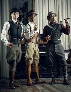 Trio of men's corsets by Dark Garden   Photo © Joel Aron