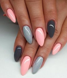 The best ideas for manicure 2018 for long nails - nails art - . - The best ideas for manicure 2018 for long nails – nails art – Be - Natural Nail Designs, Grey Nail Designs, Acrylic Nail Designs, Art Designs, Design Art, Modern Design, Almond Acrylic Nails, Almond Shape Nails, Trendy Nails
