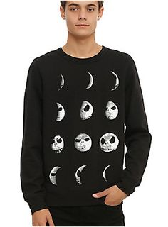 <p>The black crewneck sweatshirt from <i>The Nightmare Before Christmas</i> has the many phases, we mean faces, of Jack Skellington.</p>  <ul> 	<li>60% cotton; 40% polyester</li> 	<li>Wash cold; dry low</li> 	<li>Imported</li> 	<li>Listed in men's sizes</li> </ul>