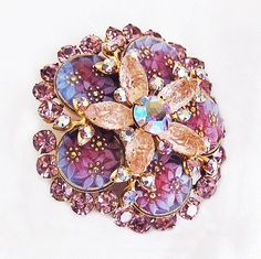 Amazing Flower Brooch 5 Tiers of Blue by AgedandOpulentJewels, $82.00