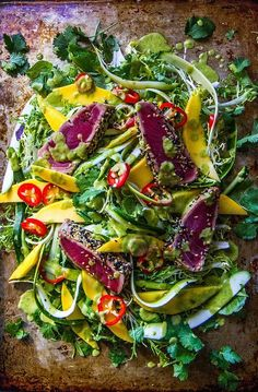 Seared Tuna with Chili and Mango Cilantro Ginger Vinaigrette - Heather Christo- not vegan but will work for us Tuna Recipes, Seafood Recipes, Salad Recipes, Cooking Recipes, Healthy Recipes, Smoker Recipes, Skinny Recipes, Cooking Tips, Skinny Meals