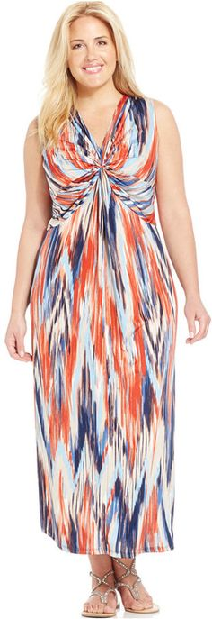 I lovd this dress and its on deep sale this weekend! Plus Size Twist-Front Maxi Dress Plus Size Maxi Dresses, Plus Size Outfits, Kelly Fashion, Maxi Outfits, Ny Collection, Plus Size Fashion For Women, Colorful Fashion, Dress Me Up, Curvy Fashion