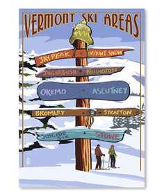 Another great find on #zulily! 'Vermont Ski Areas' Sign Destinations Wall Art…