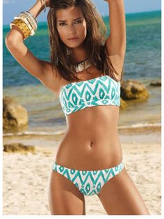 Blue and white bandeau swimsuit