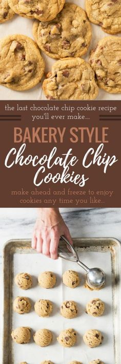 The BEST BAKERY STYLE Chocolate Chip Cookie Recipe that turns out perfect EVERY TIME! It's perfection. The Master chocolate chip cookie recipe. Cookie Desserts, Just Desserts, Cookie Recipes, Delicious Desserts, Dessert Recipes, Yummy Food, Frosting Recipes, Dessert Ideas, Bakery Style Chocolate Chip Cookie Recipe