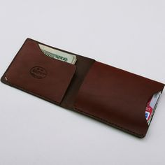 GARNY - Leather Fold No 2 - Simplified wallet from russet brown leather - FREE SHIPPING - am