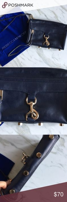 Rebecca Minkoff Mini Mac Worn a couple of times but it is in EUC! Barely any signs of wear! Beautiful navy color with gold hard ware! Comes with strap, dust bag, and additional leather tassels! Rebecca Minkoff Bags Crossbody Bags