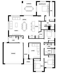 Popular Ideas The Barndominium Floor Plans & Cost to Build It Porch House Plans, 4 Bedroom House Plans, House Plans One Story, Family House Plans, Dream House Plans, Simple Floor Plans, Home Design Floor Plans, Modern Floor Plans, Modern House Plans