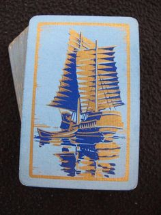 VINTAGE ART DECO 1930's PACK OF PLAYING CARDS - CHINESE JUNK SAILING BOAT