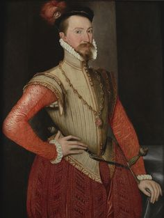 Robert Dudley, Earl of Leicester in the narrow fashions of the 1560s: Ruff, doublet, slashed leather jerkin, and paned trunk hose with codpiece.