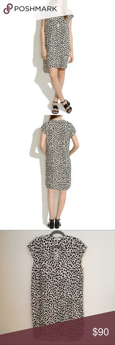 """Madewell Morningside Shiftdress in Leopard Sketch Super cute print, dress it up or down! I've worn this twice, and it's been dry cleaned since. I'll accept reasonable offers. Madewell's description: With its relaxed styling and a cool, exaggerated shirttail hem, this dress was made for those it's-too-darn-hot days. Just drop it on and you're done. •True to size, nonwaisted. •Falls 35 3/4"""" from shoulder. •Viscose. •Pockets. •Dry clean. •Import. Madewell Dresses"""