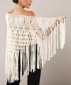 Macrame Shawl   ... find on #zulily! Ivory Macrame Shawl by Peruvian Atelier #zulilyfinds
