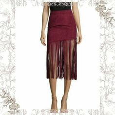 ✨ 2XHP✨ BURGUNDY FRINGE PENCIL SKIRT   TOTALLY  CHIC, THIS  FAUX  SUEDE  SKIRT  IS ADORABLE & PERFECT  COLOR  FOR THE YEAR.  ELASTIC  STRETCH  BAND, TRIMMED  WITH FRINGE  ALL AROUND  THE BOTTOM.  SO SOFT& THE WHOLE  SKIRT IS STRETCHY  YET FITTED. PIC#2 IS THE EXACT SKIRT ( FIT & STYLE ), JUST IN BURGUNDY.  SUCH A PERFECT  ADDITION  TO THIS YEAR'S  COLOR CRAZE & PERFECT  FOR YEAR ROUND. 92% POLYESTER /8%SPANDEX.  (L8 ( PRICE FIRM UNLESS BUNDLED ) ✨HP NEW YEAR NEW YOU✨ 12/30/15 ❤  @splendeur…
