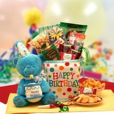 Birthday Surprise Gift Tote with Musical Bear! Turn their birthday party into the ultimate bash with our sensational bundle of birthday gifts! Brighten their day with an adorable plush character, mouthwatering chocolates and a festive canvas birthday tote. $54.99
