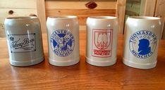 Set of 4 Ceramic German Beer Mugs Stein Stoneware West Germany Spatenbrau Tuborg #Variety