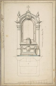 Architectural Drawing Design Design for an Altar, with Elevation and Ground Plan - Detail Architecture, Neoclassical Architecture, Baroque Architecture, Classic Architecture, Architecture Drawings, Historical Architecture, Interior Architecture, Fachada Colonial, Catholic Altar