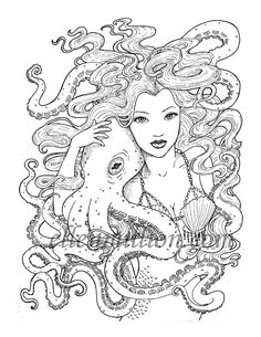 tentacle friends beautiful mermaid octopus digi stamp digital coloring page for adults for scrapbooking or