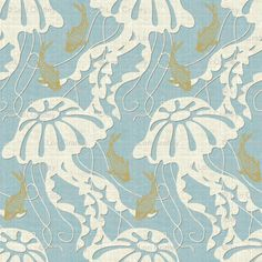 Buy jellyfish dance custom fabric, wallpaper and home accessories by littlerhodydesign on Spoonflower Paper Cutting Patterns, Fabric Patterns, Print Patterns, Graphic Patterns, Arabesque, Motifs Textiles, Textile Prints, Textile Design, Japanese Paper