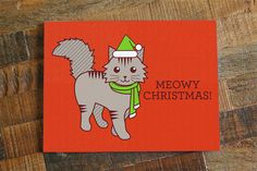 Cute Christmas Card Meowy Christmas  Funny by TinyBeeCards on Etsy