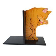 gattoso ferma libri in legno dipinto a mano www.gattosi.com
