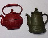 """These are two Sexton wall hangings in good vintage condition. They both have some wear to the paint.  Teapot - 6"""" x 5"""" Kettle - 6"""" x 5"""""""