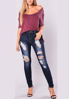 61cf6c51d4c Dark Blue Patchwork Pockets Buttons Cut Out High Waisted Long Jeans