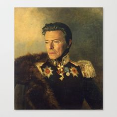 This needs to come live in my home RIGHT NOW. (David Bowie - Stretched Canvas by Replaceface - $85.00)