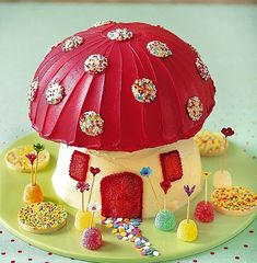 Toadstool Cake By the time we get to Sarah's birthday (the sixth in a month) it takes major cute to make me want to bake another cake. This just might do it:-)