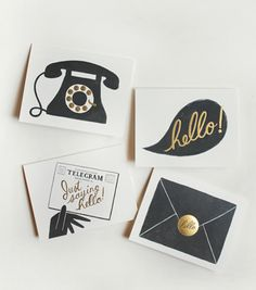 """The set features 4 vintage style illustrations in charcoal ink and metallic gold foil accents. Each design depicts a different way to say """"Hello"""", by telephone, conversation, telegram, and letter."""