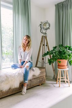This New Zealand Home in a Converted Factory Is a Plant Lover's Dream - Di Home Design Home And Living, Living Room, Ikea Curtains, Room Lamp, Colorful Curtains, Of Wallpaper, Interior Inspiration, Home Goods, Decoration