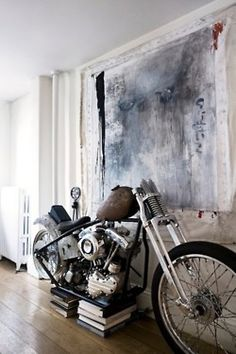Motorcycle in the living room.