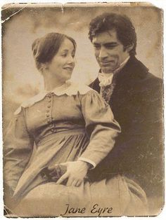 Sepia - Zelah Clark (Jane Eyre) and Timothy Dalton (Mr. Edward Fairfax Rochester) - Jane Eyre directed by Julian Amyes (TV Mini-Series, 1983) #charlottebronte #fanart