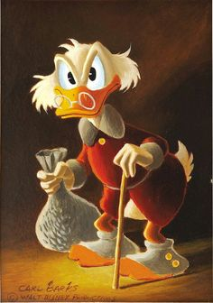 Uncle Scrooge - oil painting by Carl Barks. After his retirement in the late Carl Barks starting painting oil paintings related to his classic stories. This is of Scrooge Mc Duck, his most famous creation/addition to the Disney Duck family. Walt Disney, Disney Duck, Disney Magic, Disney Art, Disney Family, Disney E Dreamworks, Disney Pixar, Paintings Famous, Dog Paintings