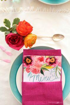 Craftberry Bush | Customizable watercolor printable menu | http://www.craftberrybush.com