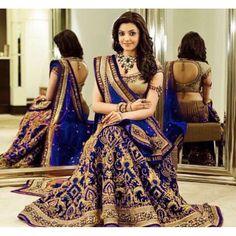 Bollywood Replica - Kajal Aggarwal In Royal Blue Lehenga Choli - DJ-47 C