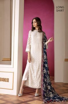 White Colour Georgette Fabric Party Wear Semi Stitched Pakistani Suit Comes With Matching Bottom and Dupatta. This Suit Is Crafted With Embroidery and Print. This Suit Comes As a Semi Stitched Which C. Pakistani Fashion Party Wear, Pakistani Wedding Outfits, Indian Fashion, Pakistani Casual Wear, Bollywood Fashion, Dress Indian Style, Indian Dresses, Indian Outfits, Indian Wear