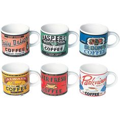 Retro Coffee Mugs (set of 6) we own some if these!