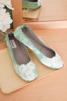 Mint green satin and lace wedding shoes ballet flats Wedding Flats, Lace Wedding, Dream Wedding, Wedding Garter, Garden Wedding, Wedding Dresses, Green Satin, Green Lace, Best Flats