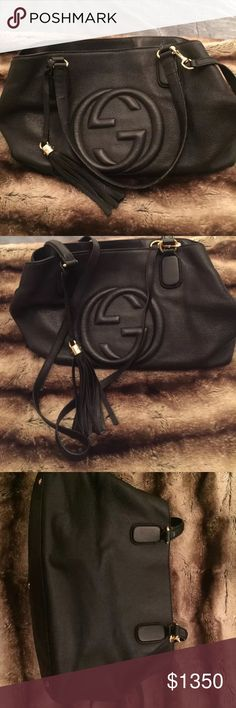 GUCCI AUTHENTIC BLACK SOHO LEATHER SHOULDER BAG PRISTINE CONDITION CORNERS PERFECT NO SCUFFS NO TEARS, PET FREE SMOKE FREE HOME. SOME STAINS ON INSIDE SEE PHOTOS. ORIGINAL BILL FROM BLOOMINGDALES, DUST BAG AND CROSS BODY STRAP.PAYMENT MUST BE RECEIVED WITHIN 24 HOURS, SHIPPING WILL TAKE PLACE 2-3 DAYS UPON RECEIPT OF PAYMENT. Gucci Bags Shoulder Bags