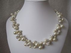 Etsy swarovski crystals and pearls- Princess Set wedding bridal jewelry bridal necklace by terihuang, $75.00