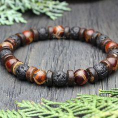 NOUVEAU 10 mm Tibet Silver Dragon Noir Veines Agate Gemstone Beads Stretch Bracelet