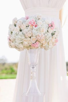 Posh Peony Wedding at Pelican Hill in Newport Beach California featured gorgeous ceremony at the rotunda with elevated florals, lush blush and cream color palette, chandelier flowers, and romantic candlelight. Wedding Ceremony Flowers, Floral Wedding, Wedding Day, Newport Beach, Newport Coast, Romantic Centerpieces, Spray Roses, Luxury Wedding, Wedding Designs