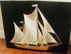 Vintage String Art Boat SHIP Excellent Condition | eBay