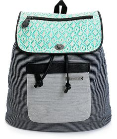 Pack all of your day to day essentials with the style of this mid-size rucksack backpack that features a mini stripe cotton canvas exterior finished with crochet overlay on the flap.